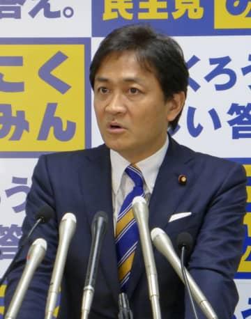 国民民主党の地方組織の幹部を集めた会合であいさつする玉木代表=1日午後、東京・永田町の党本部