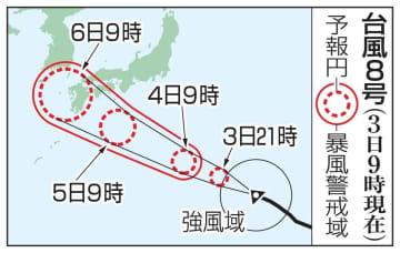 台風8号の予想進路(3日9時現在)