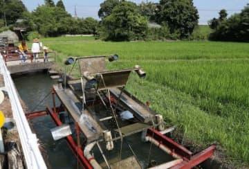 農家手作りの水車。炎天下の田園地帯で涼を演出している=岡山市東区吉井