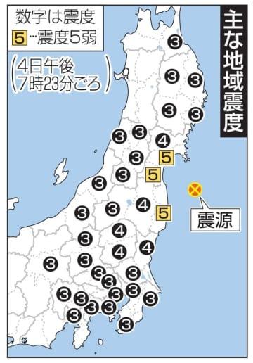 主な地域震度