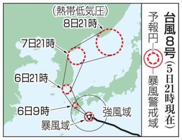 台風8号の予想進路(5日21時現在)