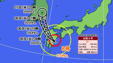 台風8号の予想進路図