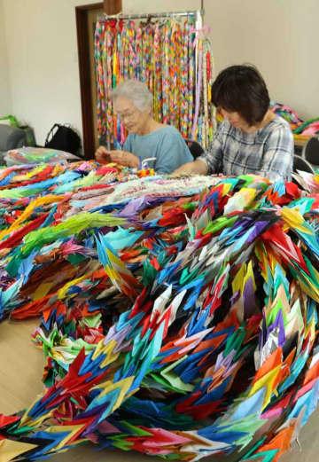 5万羽以上集まった折り鶴をつなぎ合わせる「NPO法人「まちづくりねっと・うじ」の会員たち(5日午後2時15分、宇治市宇治)