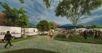 オーシャンズリゾートが宮古島で手掛けるトレーラーハウスのイメージ図(同社提供)