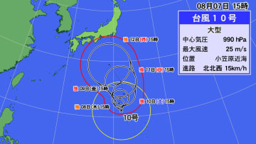 7日(水)午後3時現在の台風10号の位置と進路予想