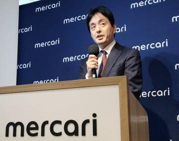 決算発表で記者会見するメルカリの山田進太郎会長=8日午後、東京都港区
