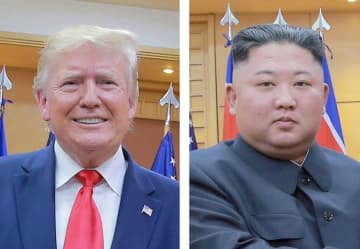 トランプ米大統領(左)、北朝鮮の金正恩朝鮮労働党委員長