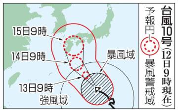 台風10号の予想進路(12日9時現在)