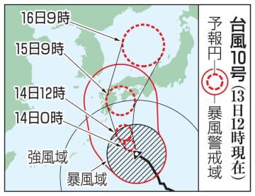 台風10号の予想進路(13日12時現在)