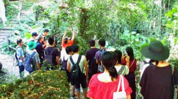 県外の修学旅行生らと八重瀬町の具志頭遊歩道を巡り、沖縄固有の生き物を紹介する地元ガイド(自然体験学校提供)