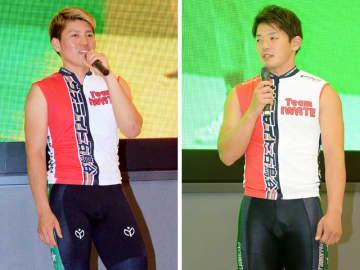 優勝したレースを振り返り、今後の意気込みを語る照井拓成(左)と後藤悠=花巻市・サテライト石鳥谷