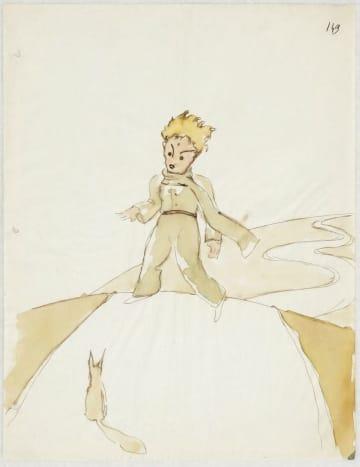 作家サンテグジュペリが「星の王子さま」用に描いた挿絵のスケッチ。王子さまとキツネが描かれている(SKKG提供・共同)