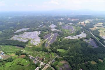 軽米町山内に完成した軽米西ソーラー発電所(レノバ提供)