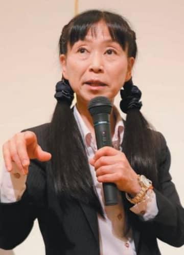 講演する内村航平選手の母周子さん=大分市