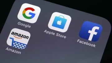 グーグル、アップル、フェイスブック、アマゾンのロゴ
