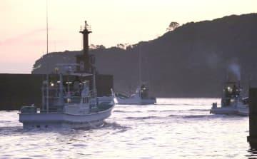 イルカなどの小型鯨類の追い込み漁に向かう太地いさな組合の漁船=1日早朝、和歌山県太地町