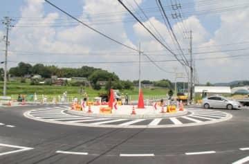 吉備中央町吉川に整備中の環状交差点