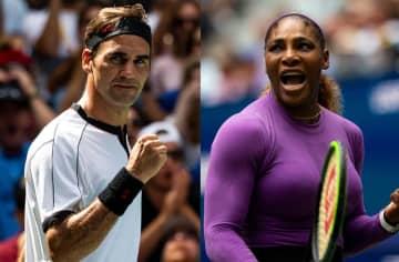 「全米オープン」でのフェデラー(左)とセレナ(右)