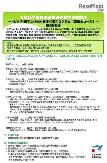 トビタテ!留学JAPAN日本代表プログラム【高校生コース】~第6期の概要