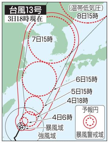 台風13号の5日先予想進路(3日18時現在)