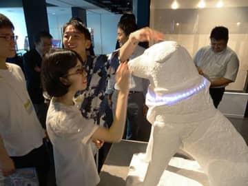 やわらか素材のハチ公像。AIを搭載し、感情も表現する=東京・渋谷