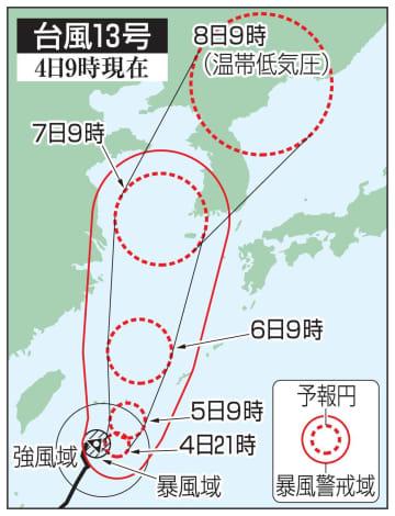 台風13号の5日先予想進路(4日9時現在)