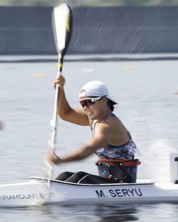 本番会場で行われたパラカヌーの日本選手権に出場した瀬立モニカ=海の森水上競技場