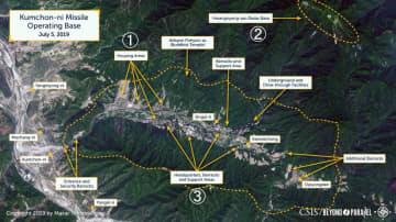 7月5日に撮影された北朝鮮南東部金泉里の衛星写真。(1)居住区域(2)レーダー基地(3)本部棟や兵舎(CSIS/Beyond Parallel/Maxar 2019提供・共同)
