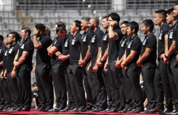 ラグビーW杯開幕に向けた壮行イベントに出席した日本代表=7日午後、東京・秩父宮ラグビー場