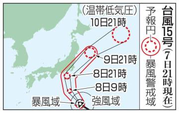 台風15号の予想進路(7日21時現在)