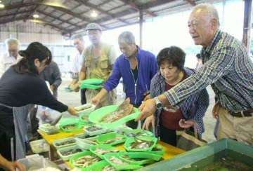 いろんな種類の地魚が並ぶ「漁師さんの朝市」=中津市の小祝漁港