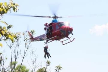 県消防防災ヘリコプター「きび」と連携した救助訓練
