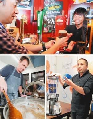 ビールは足りるか。(写真は上から時計回りに)臨戦態勢を整えているアイリッシュパブ、居酒屋が準備した4リットル入りのビールサーバー、クラフトビール専門店=いずれも大分市中心部