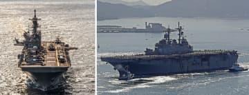 強襲揚陸艦アメリカ=2017年11月28日、米海軍提供(左) 強襲揚陸艦ワスプ=2018年10月29日、佐世保港(右)