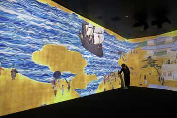 チームラボが手掛けた、南蛮屏風をモチーフにした映像コンテンツ=大村市歴史資料館