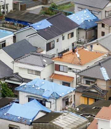 千葉県鋸南町では多くの住宅の屋根にブルーシートが掛けられ、作業する人の姿が見られた=16日