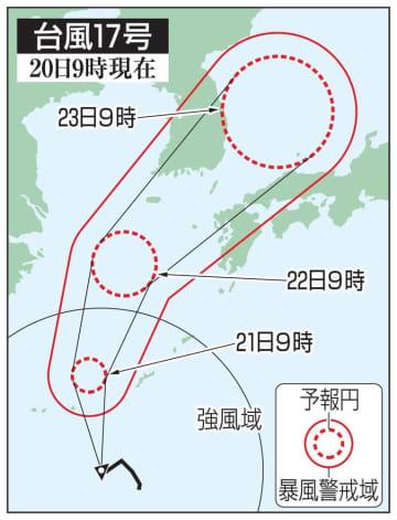台風17号の予想進路(20日9時現在)