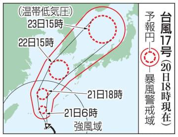台風17号の予想進路(20日18時現在)
