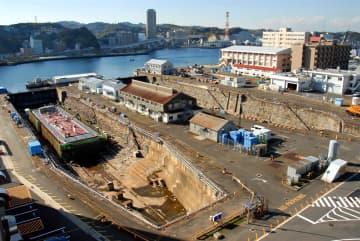 米海軍横須賀基地内にあるドライドック(横須賀市提供)