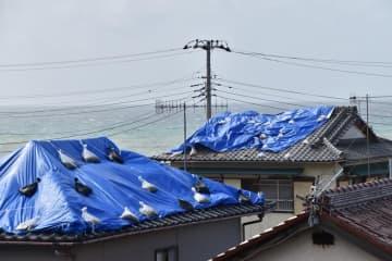 被災した住宅の屋根を覆うブルーシート=23日午後1時20分ごろ、館山市布良