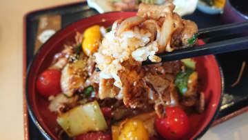 ランチセットメニューのSPF豚と野菜のがっどぉ丼