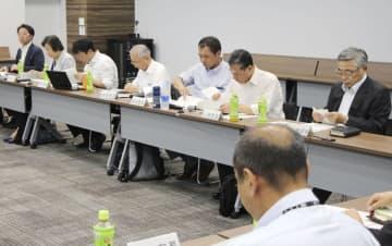 東京電力福島第1原発の処理水の扱いを議論する政府小委員会の会合=27日午後、東京都港区
