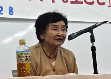平和な世界の実現を訴える下平さん=長崎市、長崎被災協地下講堂