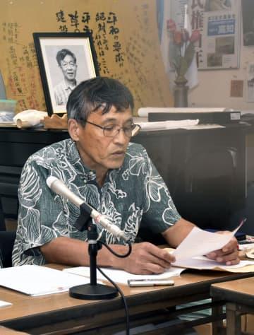 記者会見する太平洋核被災支援センターの橋元陽一副代表=3日午後、高知市