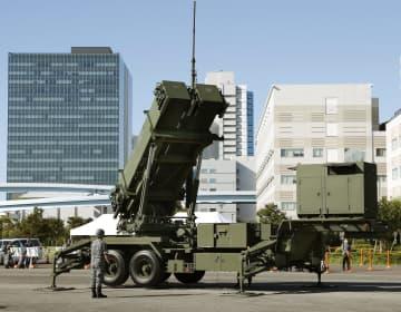 航空自衛隊が報道陣に公開したPAC3の機動展開訓練=9日午前、東京・有明