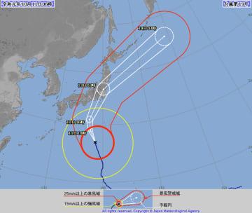 台風19号の経路予想図(気象庁HPより)
