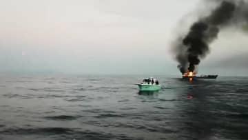 漁船から出火、乗組員13人全員救助 遼寧省大連市