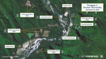 9月23日に撮影された北朝鮮・豊渓里の核実験場の衛星写真。(1)指令センター(2)活動中の農地(3)元検問所(4)治安当局の施設(CSIS/Beyond Parallel/Airbus2019提供=共同)
