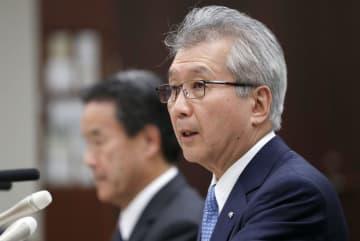 電気事業連合会の会長に再登板し、記者会見する勝野哲会長=18日午後、東京・大手町の経団連会館