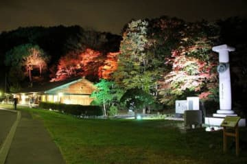 ▼幻想的な光に包まれる国指定史跡の旧島松駅逓所